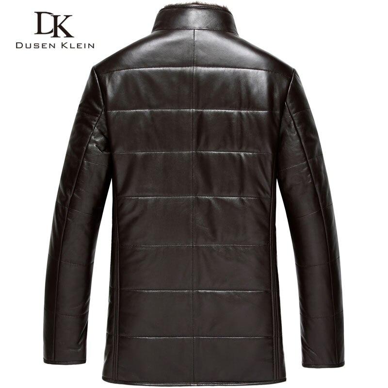 Dusen Klein Winter Leder jacke schaffell wolle liner nerz pelz kragen luxus marke mäntel Schwarz/Braun 15J1386-in Echte Ledermäntel aus Herrenbekleidung bei  Gruppe 2