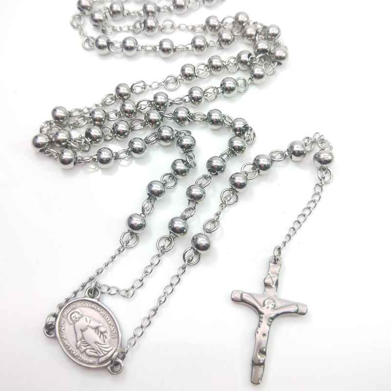 Religious Ornament Men's Necklace Stainless Steel Beaded Cross Jesus Rosary Necklace