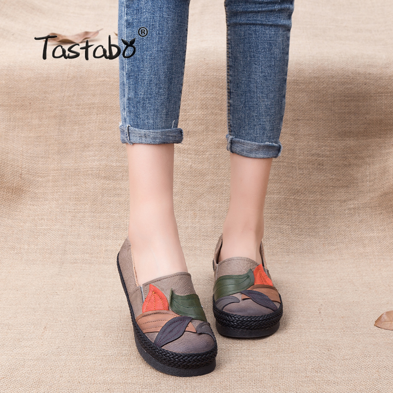Tastabo Genuine Leather Shoes Women Soft Ballet Slip on Casual Woman Shoes Flat Flexible Nurse Peas Loafer Flats lypo new women casual flat shoes woman squard toe ballet flats loafers peas fashion bowtie slip on boats soft lazy shoes