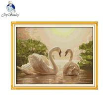 Joy Sunday DIY Needlework Chinese Cross Stitch Sets for Embroidery Kits Two Swans Patterns Printed Counted Cross-Stitching