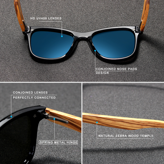 KINGSEVEN 2019 Handmade Brand Design Zebra Polarized Sunglasses Men/Women Mirror Lens Original Wood Eyewear Oculos de sol Men's Glasses
