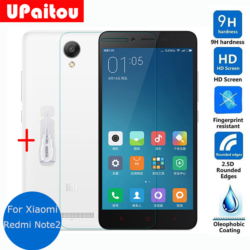 UPaitou For Xiaomi redmi note 2 Screen Protector Tempered glass 2.5 9h Protective Film on Redmi note2 red rice Dual Sim