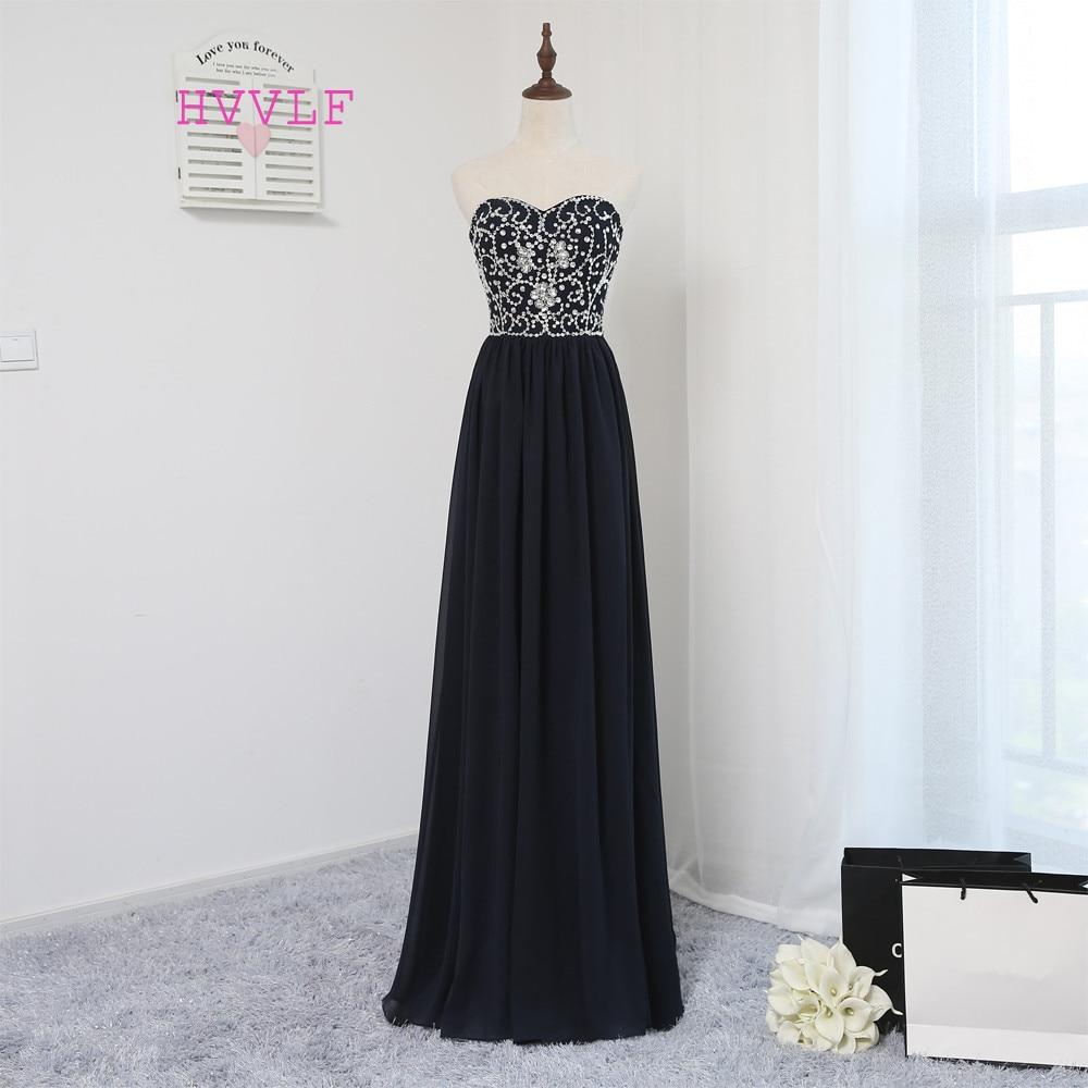 Gaun Prom 2019 Elegan A-line Sayang Navy Blue Chiffon Beaded Kristal Panjang Prom Gown Evening Dresses Evening Gown