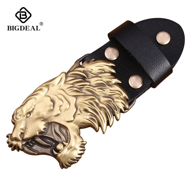 Retail 2018 New Style High Quality 3D Tiger Head Solid Brass Men Belt Buckle Metal Cowboy Belt Head For 38mm Wide Belt