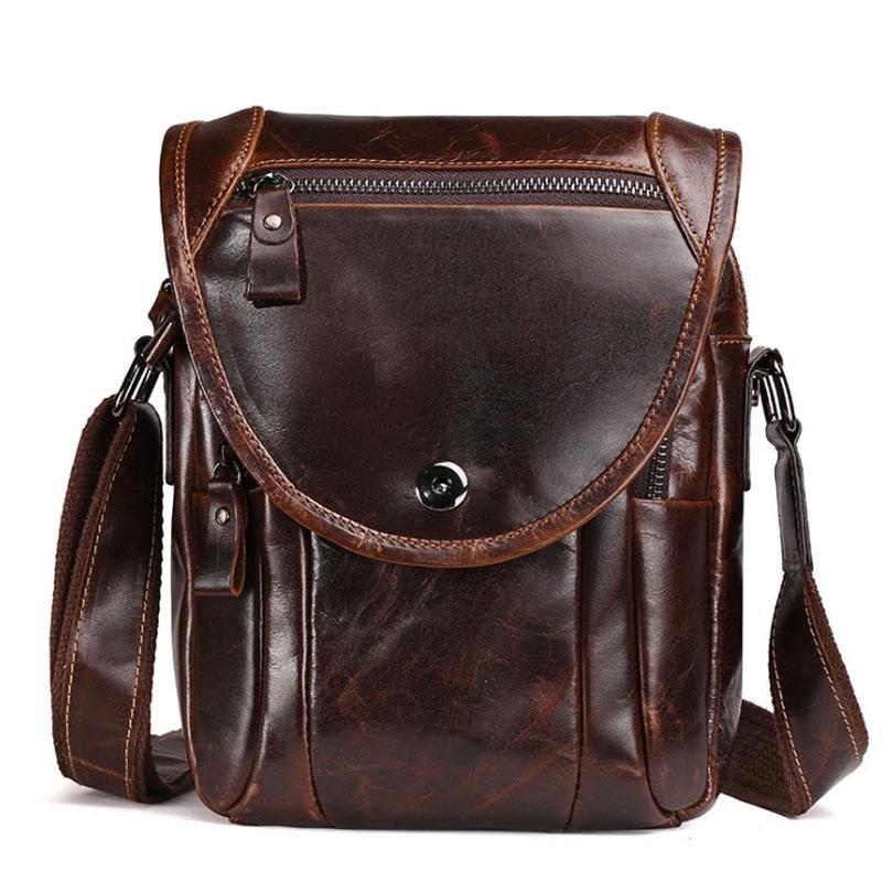 все цены на Men High Quality Genuine Cowhide Leather Business Casual Crossbody Shoulder Bag Cigarette Case Phone Bags wallet New