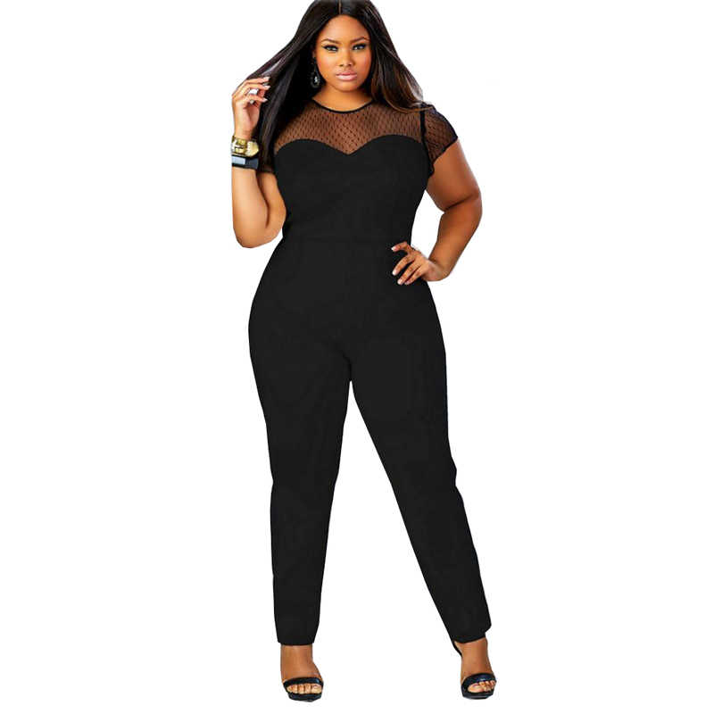 9faf85cb379 ... BHflutter 2017 Rompers 4XL Plus Size Clothing Women Short Sleeve Casual  Jumpsuits Lace Patchwork Women s Sexy ...