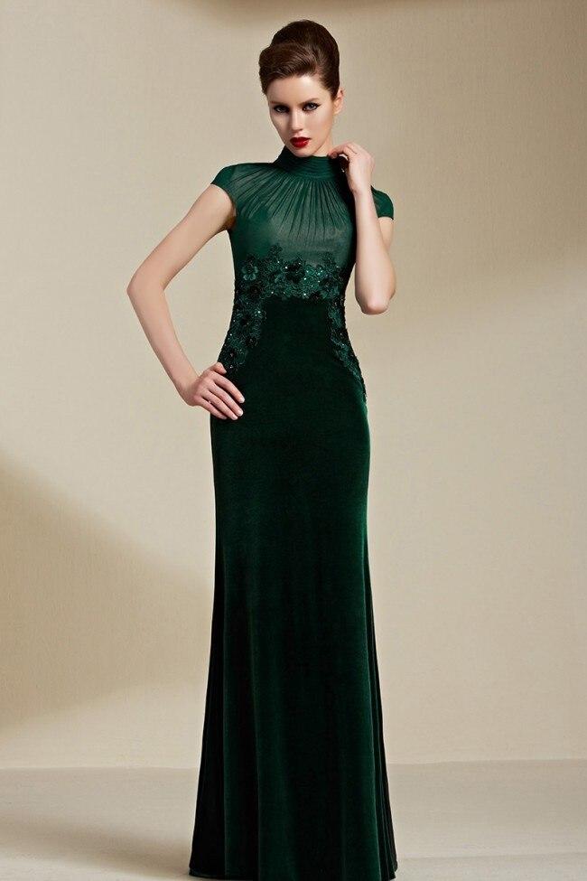 Livraison gratuite élégant vert foncé velours col haut Appliques a-ligne longue bal 2018 nouveaux vestidos mère de la mariée robes
