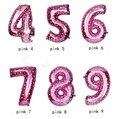 Número 0-9 16 polegada = 40 cm tamanho S azul rosa da folha de mylar Balões de hélio para o Aniversário de Casamento Decoração do partido Artesanato Decor