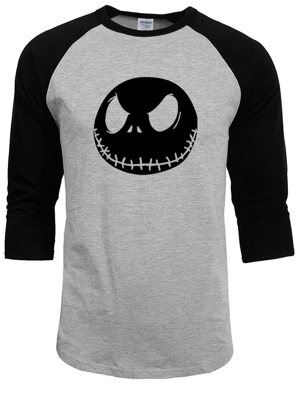 New Mens T Shirt Nightmare Before Christmas Jack Skellington Male Charcoal T-Shirt 100% Cotton raglan Sleeve summer autumn Tops