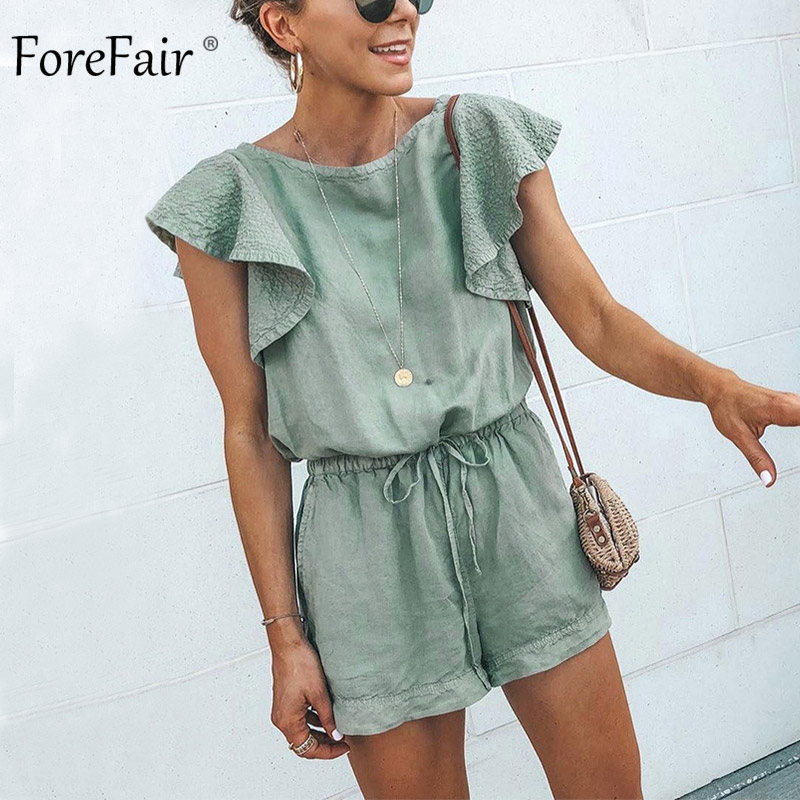 Forefair Playsuit Cotton Linen Ruffle Tunic Green Plus Size Elastic Waist Casual Overalls Women 2019 Beach Summer Sexy Jumpsuit
