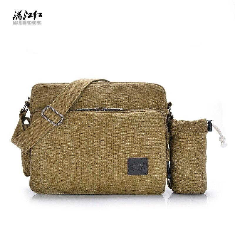 MANJIANGHONG brand men canvas bag canvas shoulder bag multi-function Messenger bag men simple retro messenger bag new style school bags for boys