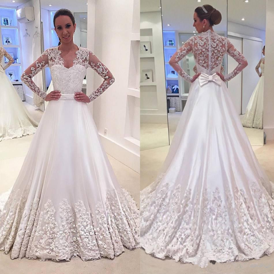 Back To Search Resultsweddings & Events Collection Here Sexy Illusion Back V Neck Long Sleeve Lace 2019 Muslim Arabic Wedding Dress Boho Sofuge Vestido De Noiva Robe De Mariee