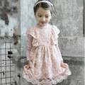 Baby Girl Dress Cotton Children Fashion 2016 Autumn Winter Girls Dress With Long Sleeves Turn-down Collar Solid Preppy Dress