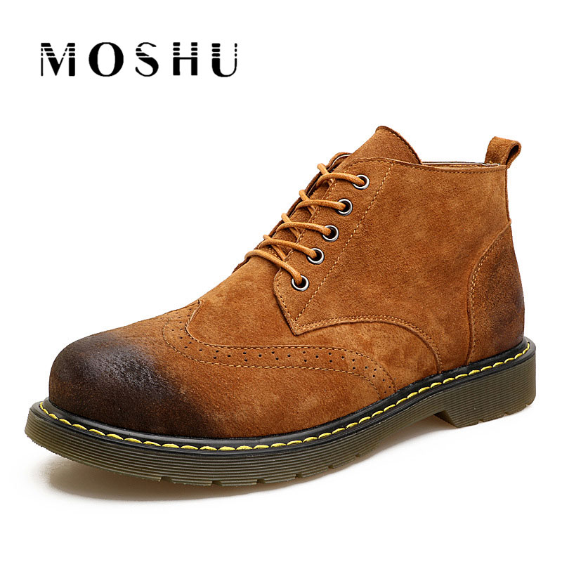 Autumn Winter Men Genuine Leather Boots Lace Up Outdoor Anti-slip High-top Vintage Shoes High Quality Martin Boots Plus Size 47