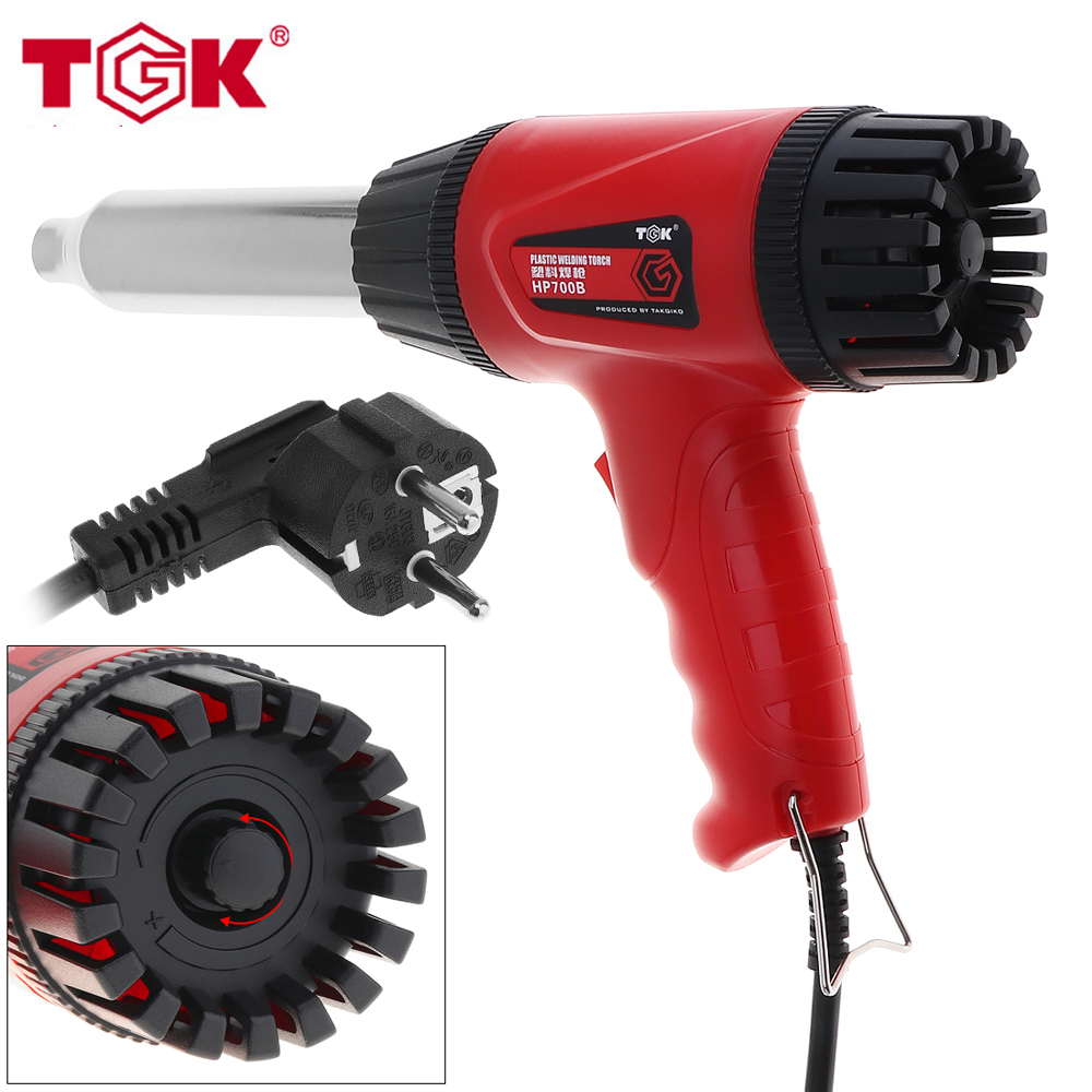TGK 220V 700W Temperature Adjustable Heat Gun Electric Hot Air Gun with Control Button for Softening Soldering and Welding 10pcs lot 220v 2000w hot air gun powerful mini hand tools lcd temp adjustable heat gun 2nozzles for soldering and welding 8920e