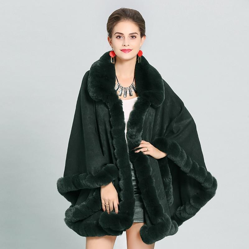 SC274 Winter Shawl Faux Cashmere Warm Thick Coat 2018 Plus Size Poncho Women Faux Fox Fur Cape Big Pendulum Dovetail Cardigan