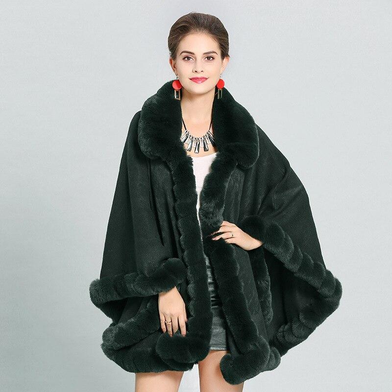 SC274 hiver châle Faux cachemire chaud épais manteau 2018 grande taille Poncho femmes fausse fourrure de renard Cape grand pendule en queue d'aronde Cardigan