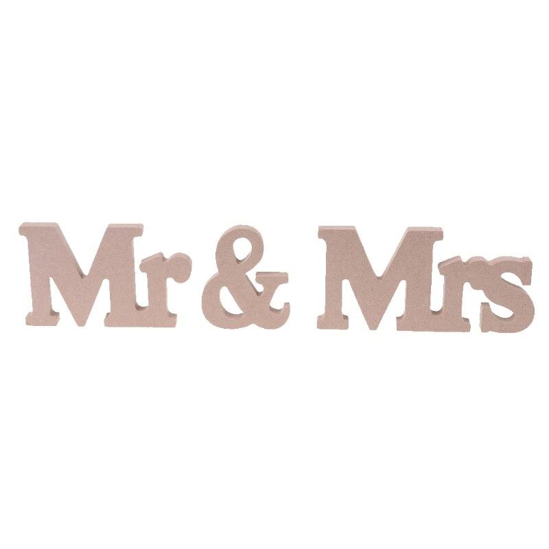Mr & Mrs Свадебные украшения коричневый деревянные буквы знак для милая Таблица Декор украшение дома