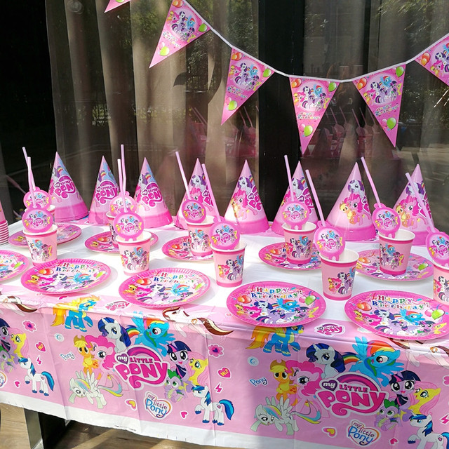 846fc7b440a My Little Pony Theme Design 152Pcs Lot Kid Birthday Party Cups Plates Mask  Invitation Card