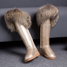 New Winter Genuine Leather Snow Boots Natural Fox Fur Knee- High Boots Waterproof Flat Heel Women Long Fur Boots Raccoon Fur