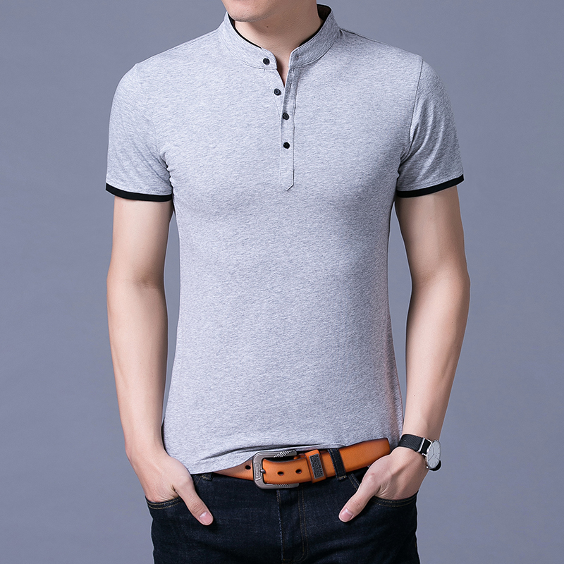 2019 New Fashions Brand Summer   Polo   Shirt Mens Mandarin Collar Short Sleeve Slim Fit Solid Color Poloshirt Casual Mens Clothing