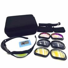 Polarized C5 Desert Sunglasses 4 lenses Goggles Tactical Eyewear Eye Protection For Airsoft Hunting UV400 Glasses