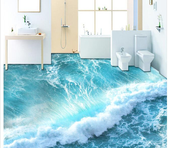 Custom photo Waterproof floor wallpaper 3 d ocean waves 3d mural PVC wallpaper self-adhesion floor wallpaer waterproof floor mural painting floor tiles marble 3d relief photo floor wallpaper 3d stereoscopic 3d floor for mural