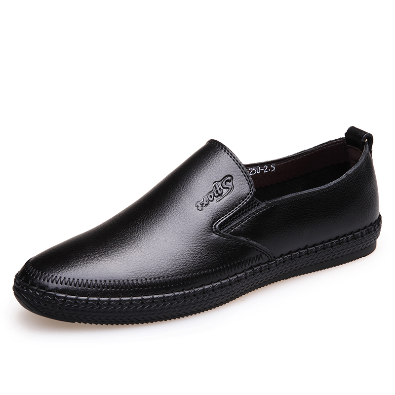 2019 New Men's Cow   Leather   Loafers Soft Shoes Man Casual Slip-on Old Man Loafers Men Split   Leather   Shoes