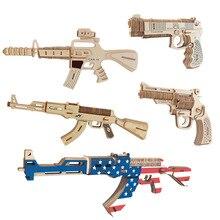DIY AK47/M4A1/Carbines/Revolver Submachine Gun Model 3d  Wooden Puzzle toy gun for Children Diy Handmade Wooden Toy For Gifts недорого