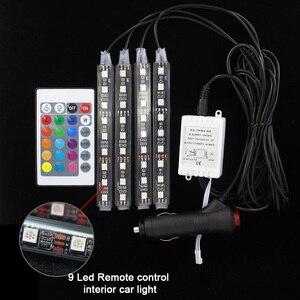 Image 5 - Bande lumineuse avec télécommande, 4 pièces, éclairage dambiance de voiture, rvb, LED, rampe déclairage à LED, LED couleurs, design décoratif, éclairage dintérieur de voiture, 12V