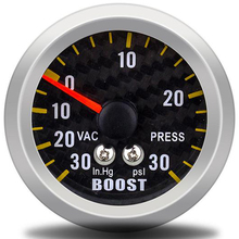 """"""" 52 мм авто manometre Turbo Boost Gauge аналоговый углеродного волокна лицо-30~ 30 PSI метр белый фон свет boostcontrol"""