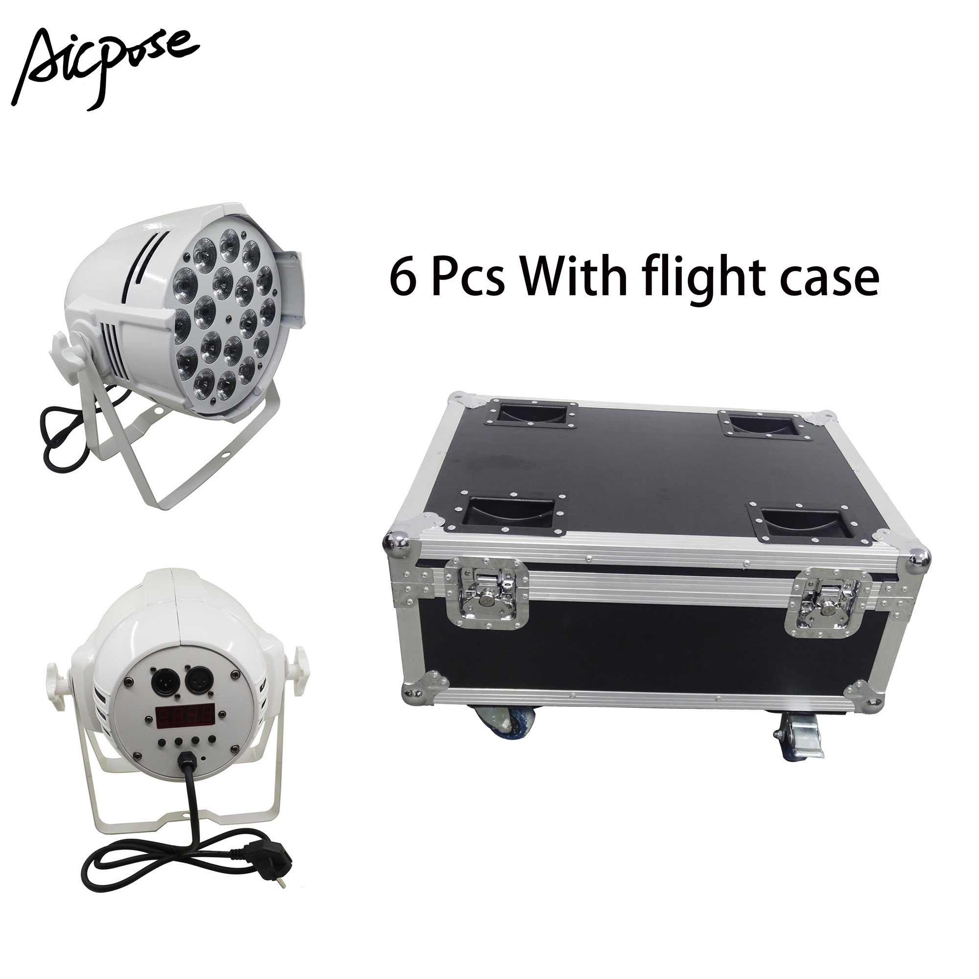 6pcs 18*10w Light Aluminum LED Par 18x10W RGBW 4in1 LED Par Can Par 64 Led Spotlight Dj Projector Stage Light With Flight Case