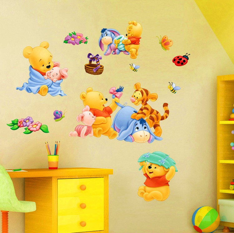 Baby Bear Cartoon Diy Wall Stickers For Kids Children Room Decaor Window Winnie Pooh Nursery Decals In From Home Garden