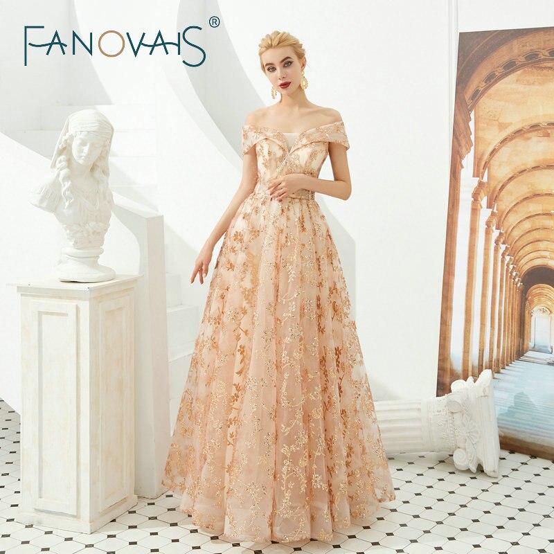 Fanovais Sequin dentelle or épaule dénudée élégante femmes robes de soirée robe de bal vestidos de fiesta de noche abiye gece elbisesi