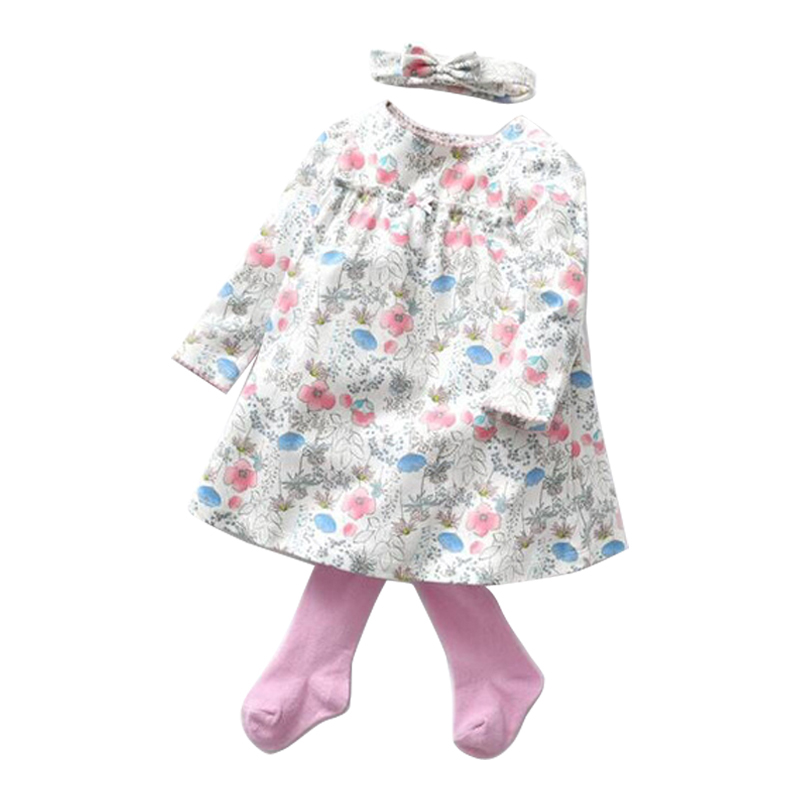 2018 Autumn Infant Clothes Baby Girl Clothing Set Dresses + Stockings +Headband 3Pcs Set Newborn Toddler Girl Clothes Outfits