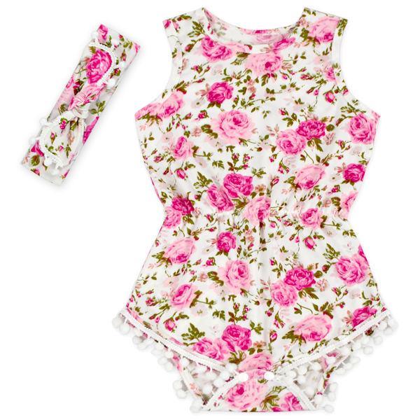 ec1345ad138d Best buy 2017 new Baby Girl Pretty summer Romper Flower Pom Pom Romper  Child Rosy Baby Girl baby floral romper baby girl boutique clothes online  cheap