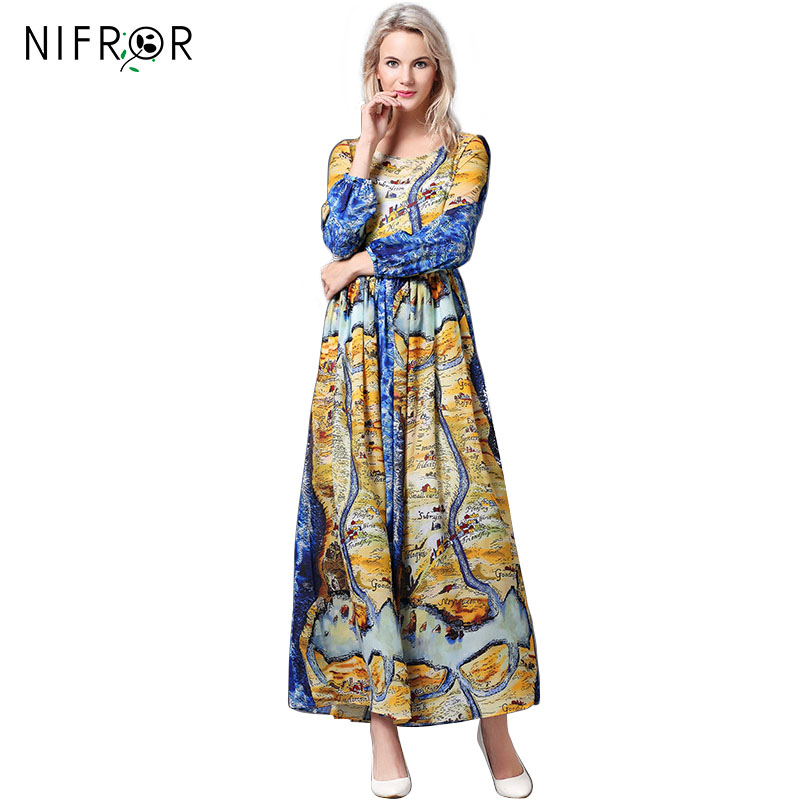 High Quality 2018 New European Map Silk Printing Loose Long Dress Full sleeve O_neck Fashion Cute Dress yt0281 italy 2009 european conference on religion european map 1ms new 0521