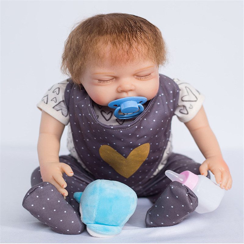 20 inch 50 cm Silicone baby reborn dolls, lifelike doll reborn sleeping doll festival gifts for boys and girls
