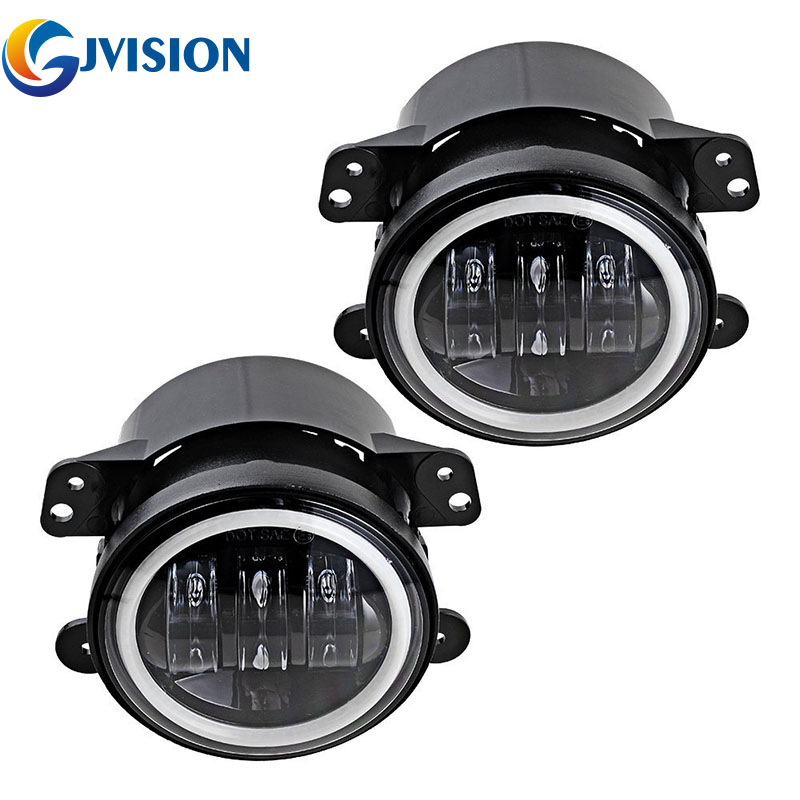 Pair 4'' INCH LED fog lights Halo Ring Angel Eyes DRL FOR Jeep Wrangler JK Dodge Chrysler Front Bumper lights for opel astra h gtc 2005 15 h11 wiring harness sockets wire connector switch 2 fog lights drl front bumper 5d lens led lamp