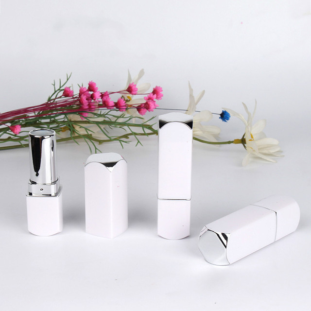 Empty Lipbalm Tube 12.1mm White Square Lipstick Tube Empty Cosmetic Container Lip Balm Packaging Empty Lipstick Container 50pcs
