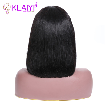 Klaiyi Hair Straight Bob Human Hair Wigs With Bang 8-14 inch Pre Plucked Brazilian Remy Hair 13*4 Lace Front Wig 150% Density 4