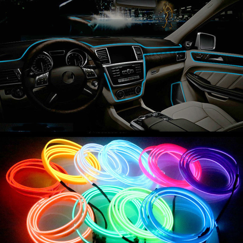 WEINUO Auto LED Strip 1M/3M Car Interior Lighting Garland EL Wire Rope Tube Line flexible Neon Light With 12V USB Car Sticker image