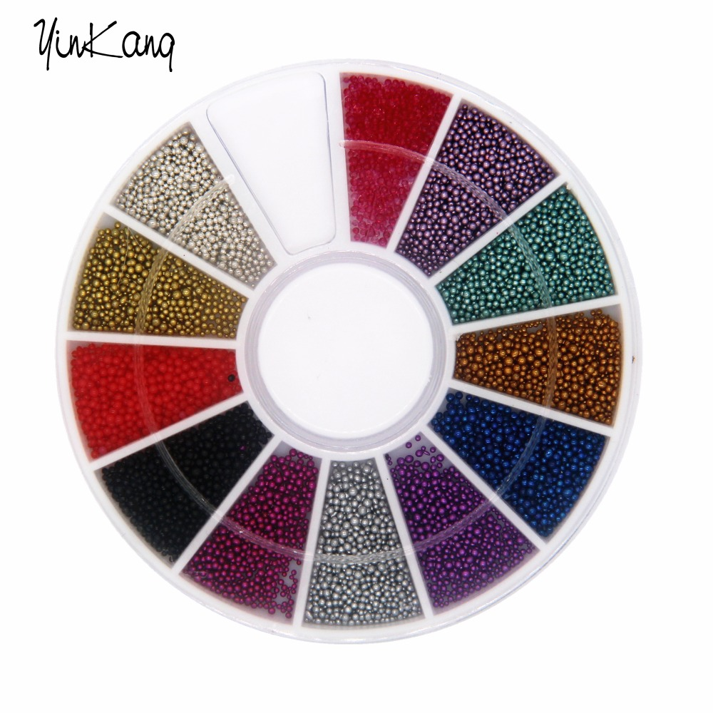12 colors New Arrival New Tiny Circle Bead Decoration 3D Nail Art Caviar  Free Shipping 2014 new arrival hollow sequins nail art glitter decoration free shipping