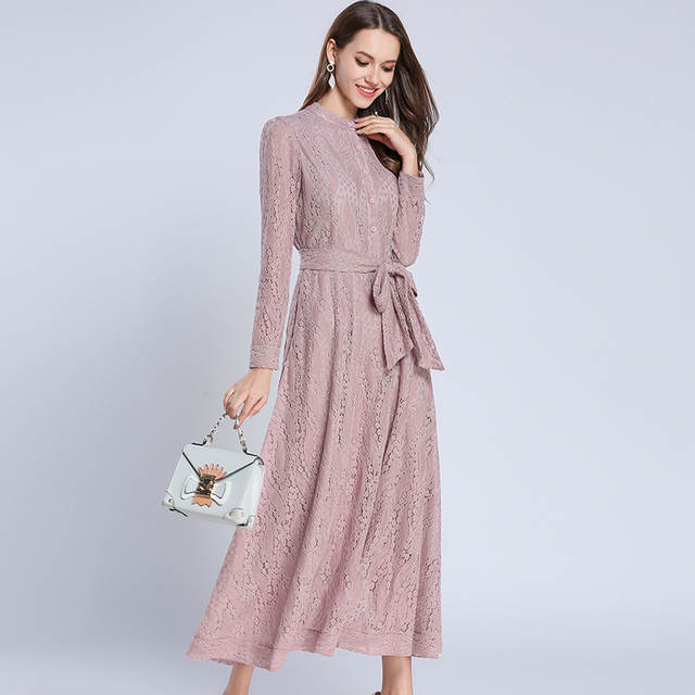 9cc263cb5 placeholder Elegant Women Pink Lace Maxi Dress Vestidos Mujer 2019 Spring  Long Sleeve Long Party Dress Robe