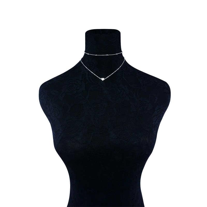 Novo lindo estilo 2 camadas amor de coração, colar com corrente de multicamadas, gargantilha ajustável, para presente 2 pçs/set