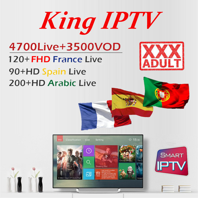 US $0 95 5% OFF|KING OTT French iptv Subscription for France Arabic Spain  Portugal Nordic channel Support Adult M3U Enigma2 Smart Android TV Box-in