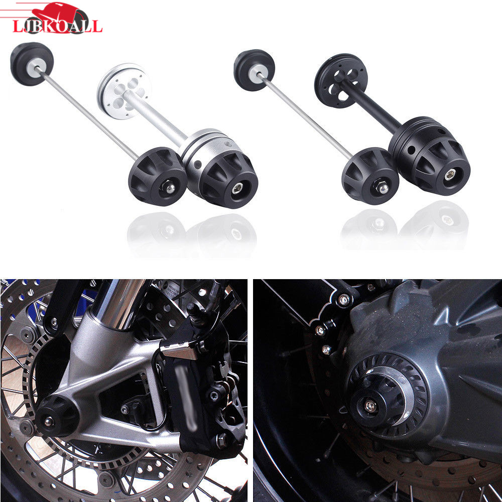LJBKOALL Black Silver Motorcycle Front Rear Refit Wheel Fork Axle Sliders Cap Crash Protector for 2013-2016 BMW R NINE T fit for ducati monster 695 2007 2008 front rear axle fork crash sliders cap blue motorcycle falling protection