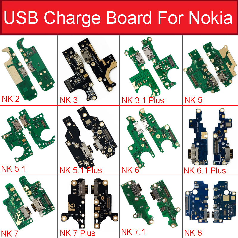 Charger USB Jack Board For Nokia <font><b>2</b></font> <font><b>2</b></font>.1 3 3.1 Plus <font><b>5</b></font> <font><b>5</b></font>.1 <font><b>6</b></font> <font><b>6</b></font>.1 7 7.1 Plus 8 Charging USB Port Board Module Replacement Parts image