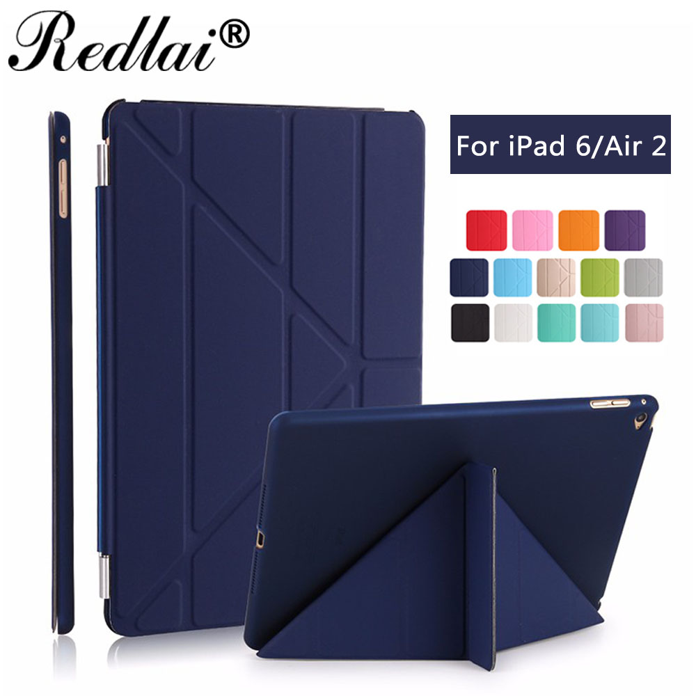For iPad Air 2 Case,Redlai Ultra Thin Slim PU Leather Smart Cover Auto Sleep Wake+PC Hard Back Case For Apple iPad 6 Tablet Case