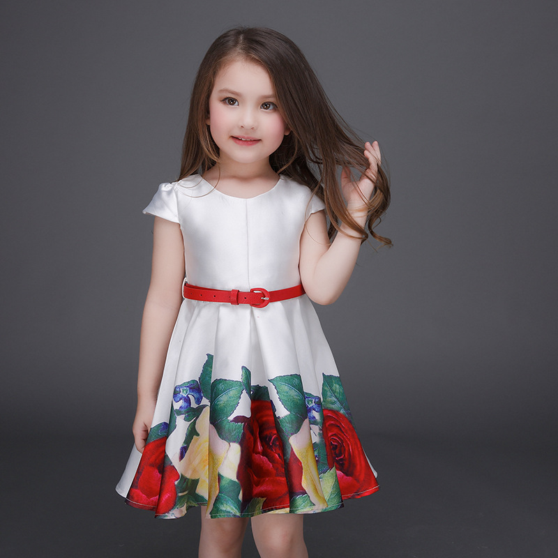 d08e887350685 Girls Summer Casual Clothing Set Children Summer Casual Sets Fashion Flower  dress+belt Kids two pcs clothing Set